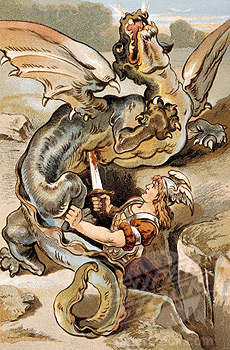 Siegfried kills Fafnir (Nibelungenlied)